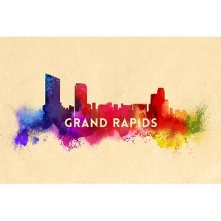 Grand Rapids, Michigan - Skyline Abstract - Lantern Press Artwork (Playing Card Deck - 52 Card Poker Size with Jokers)