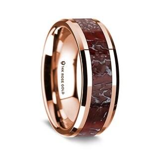 14K Rose Gold Polished Beveled Edges Wedding Ring With Red Dinosaur Bone Inlay 8 Mm