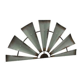 Distressed Silver Rustic Windmill Half Metal Wall Hanging 32 Inch