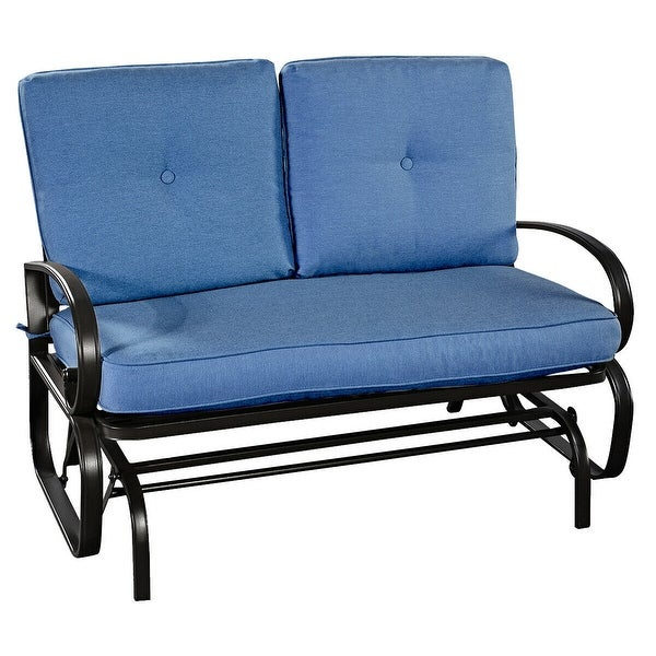 Outdoor Patio Cushioned Rocking Bench Loveseat-Blue