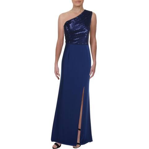 Adrianna Papell Womens Evening Dress Split One-Shoulder