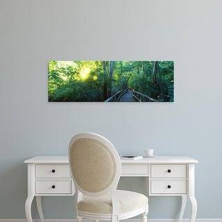 Easy Art Prints Panoramic Images's 'Boardwalk in a forest, Crane State Park, Ohio, USA' Premium Canvas Art