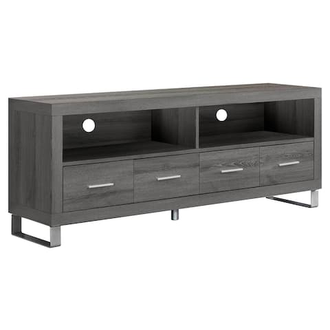 """Offex Tv Stand - 60""""L - Dark Taupe with 4 Drawer, OFX-504226-MO"""