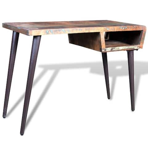 vidaXL Office w/ Iron Legs Desk Reclaimed Wood Workstation Writing Tables