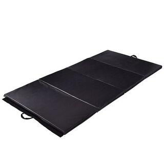 Costway Black 4'x10'x2'' Gymnastics Mat Thick Folding Panel Fitness Exercise Mat