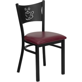 Dyersburg Black Coffee Back Metal Restaurant Chair - Burgundy Vinyl Seat