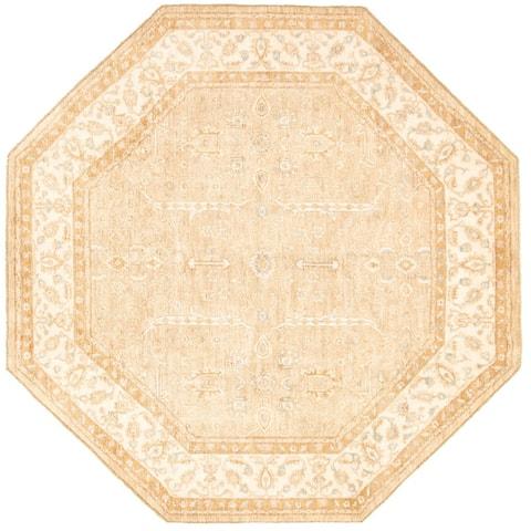 ECARPETGALLERY Hand-knotted Chobi Twisted Beige Wool Rug - 8'1 x 8'1