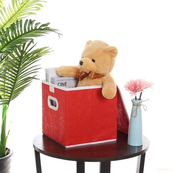 "Foldable Cloth Storage Bin Cube Closet Basket with Dual Plastic Handles & Lid - 9.8""x9.8""x9.8"""