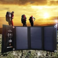 Costway 21W Foldable Waterproof Dual USB Solar Panel Charger For Smartphone Travel Hook