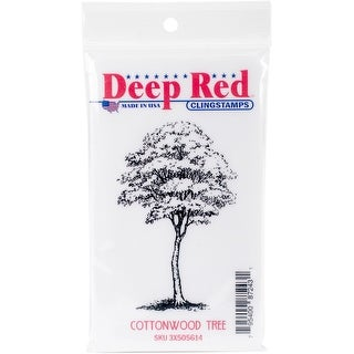 "Deep Red Cling Stamp 2""X3.1""-Cottonwood Tree"