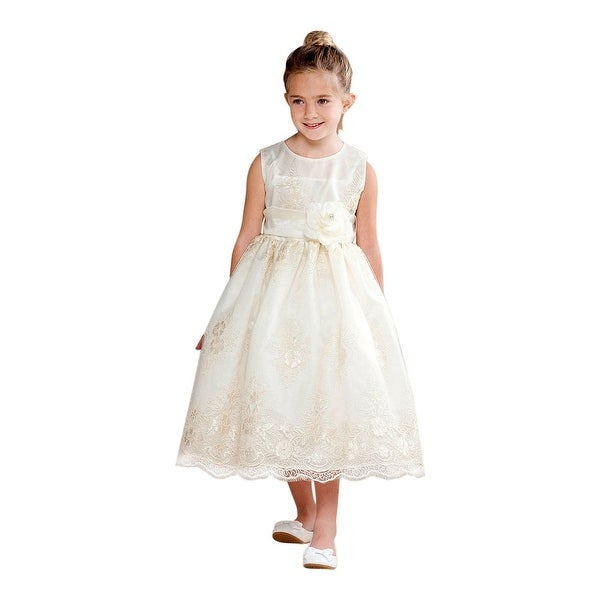 45661c3b01d Shop Crayon Kids Little Girls Ivory Floral Embellished Flower Girl Dress -  Free Shipping Today - Overstock - 18176842