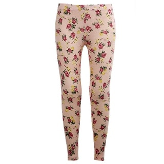 Girls Stretchy Leggings Trousers Beige Rose