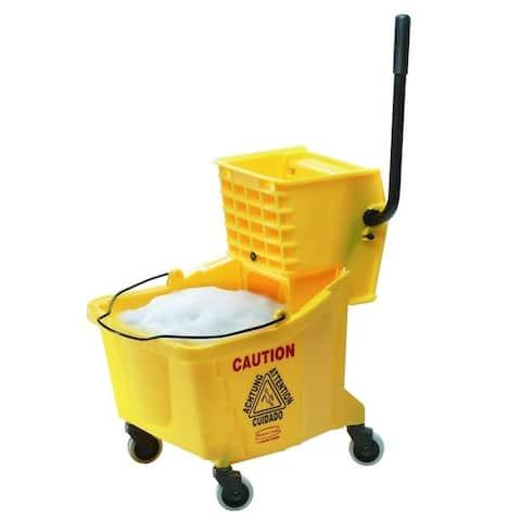 Rubbermaid 1887305 WaveBrake Oval Mop Bucket & Wringer, 35 Quart - Yellow