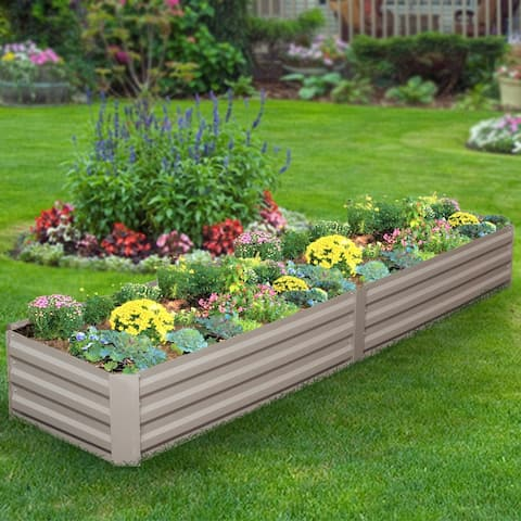 Ainfox Raised Metal Garden Bed,Corrugated Steel Planter For Flowers And Vegetables,Metallic Gray