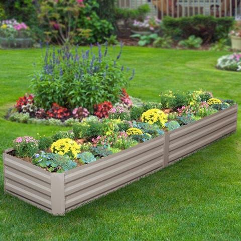 Ainfox Raised Metal Garden Bed,Corrugated Steel Planter