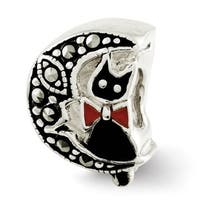 Sterling Silver Reflections Marcasite & Enameled Cat & Moon Bead (4mm Diameter Hole)
