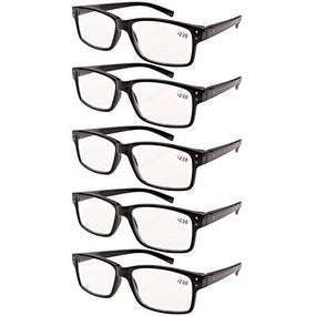 Eyekepper 5-pack Spring Hinges Vintage Reading Glasses Men Readers Black +0.00