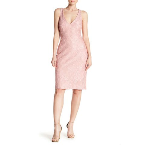 Marina Womens V-Neck Sleeveless Flower Shimmer Texture Dress, Blush, 14