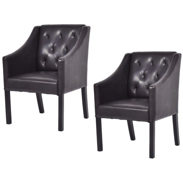 Shop Costway Set Of 2 Accent Arm Chair Pu Leather Tufted