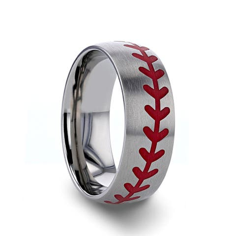 Thorsten Dimaggio Titanium Rings for Men Brushed Finish Titanium Ring with Red Baseball Stitching Pattern - 8 mm