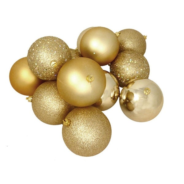 "12ct Shatterproof Vegas Gold 4-Finish Christmas Ball Ornaments 4"" (100mm)"