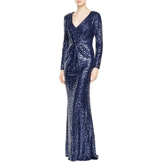 Badgley Mischka Womens Evening Dress Sequined Long Sleeves