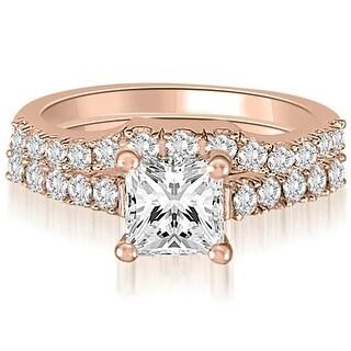 0.85 CT.TW Princess And Round Diamond Bridal Set,HI,SI1-2