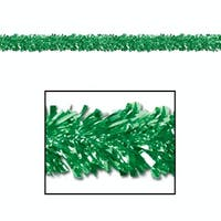 Pack of 12 Shiny Metallic Green Foil Tinsel 6-Ply Christmas Garlands 15' - Unlit