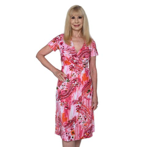 JOVIE Red Floral V-Neck Wrap Dress with Short Sleeves Breathable Quick - XL