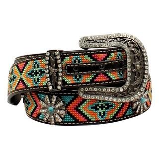Blazin Roxx Western Belt Womens Beaded Aztec Multi-Color