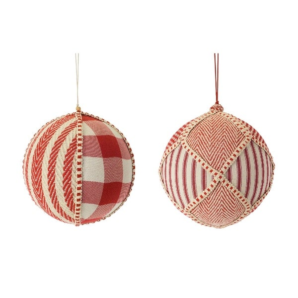"Set of 4 White and Red Plastic with Fabric Ball Ornament 8.50"". Opens flyout."