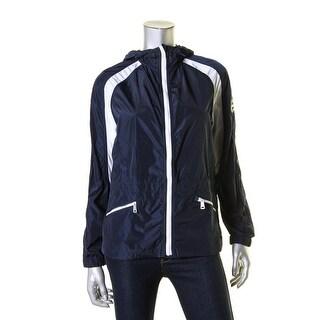 L-RL Lauren Active Womens Windbreaker Jacket Hooded Colorblock - s