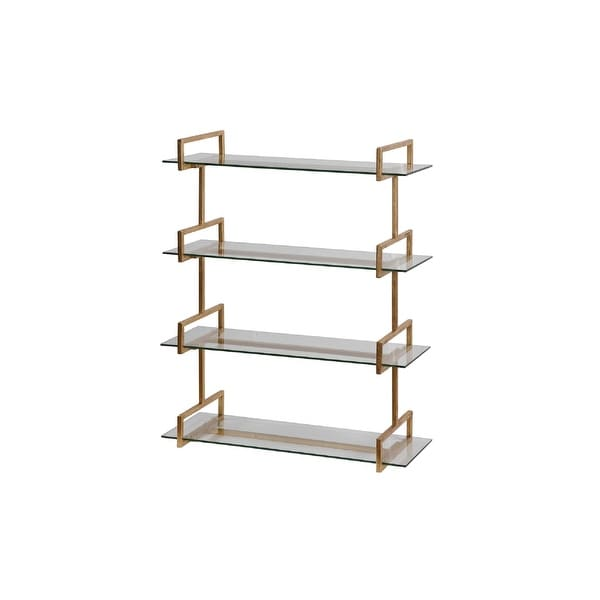 """40""""Iron Wall Mounted Shelf with Tempered Glass Shelves - N/A"""