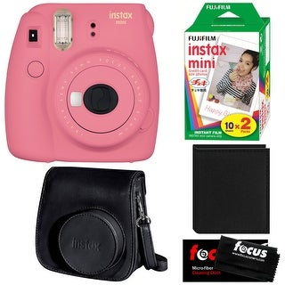 Fujifilm Instax Mini 9 (Flamingo Pink) with Groovy Case and Instant Film Bundle