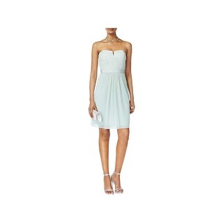 Adrianna Papell Womens Cocktail Dress Lace Strapless
