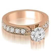1.40 cttw. 14K Rose Gold Antique Style Milgrain Round Diamond Engagement Ring