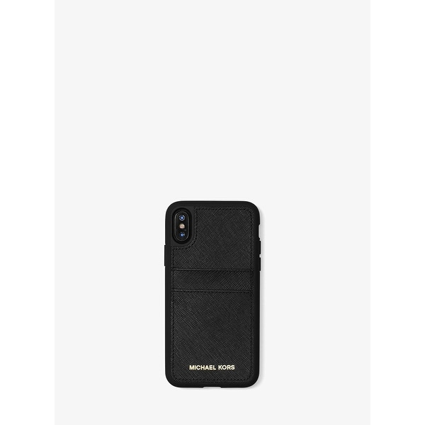 e84ea4d832f8 Shop Michael Kors Saffiano Leather Phone Case with Pockets for iPhone X -  Black - Free Shipping On Orders Over  45 - Overstock - 22133049