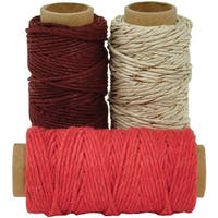 Lucky Dip Mixed Hemp Cord 1.0Mmx21m 3/Pkg-Cherry