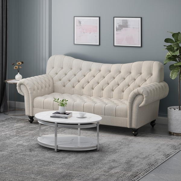 "Wastacio Chesterfield Button-tufted Sofa by Christopher Knight Home - 34.00""D x 84.50""W x 37.50""H. Opens flyout."