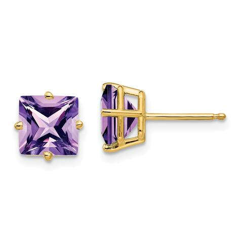 14K Yellow Gold 7mm Princess Cut Amethyst Earrings by Versil