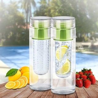 2pk Portable Fruit Infusing Infuser Water Bottle, safe Bpa Plastic, Green US.