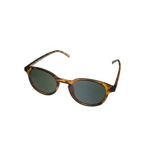 Perry Ellis Mens Demi Plastic Round Sunglasses Brown PE25-1, Includes Perry Ellis Pouch, 100% UV Protection
