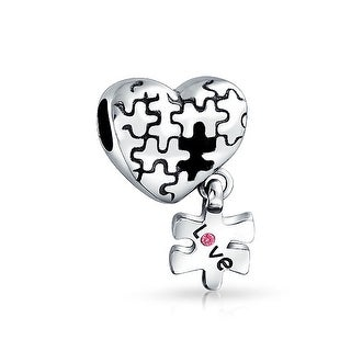 Bling Jewelry Autism Awarness Puzzle Dangling Heart Shaped Bead Charm .925 Sterling Silver