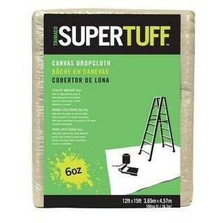 Trimaco 56703 Supertuff Light Weight Canvas Drop Cloths, 12' x 15'