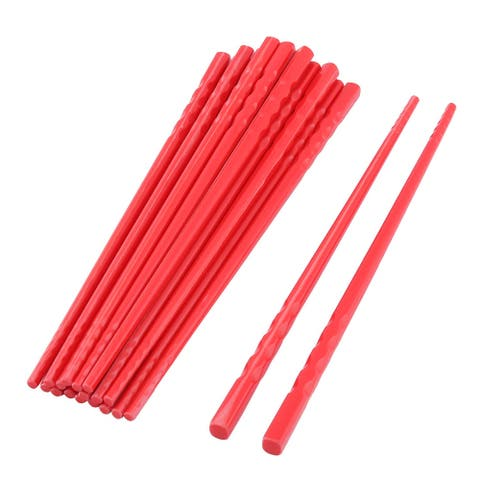 Wood Food Serving Chopsticks Red 10 Pairs