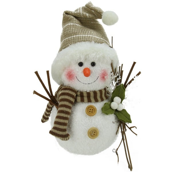 """10"""" Alpine Chic Snowman with Twigs and Mistletoe Christmas Decoration - WHITE"""
