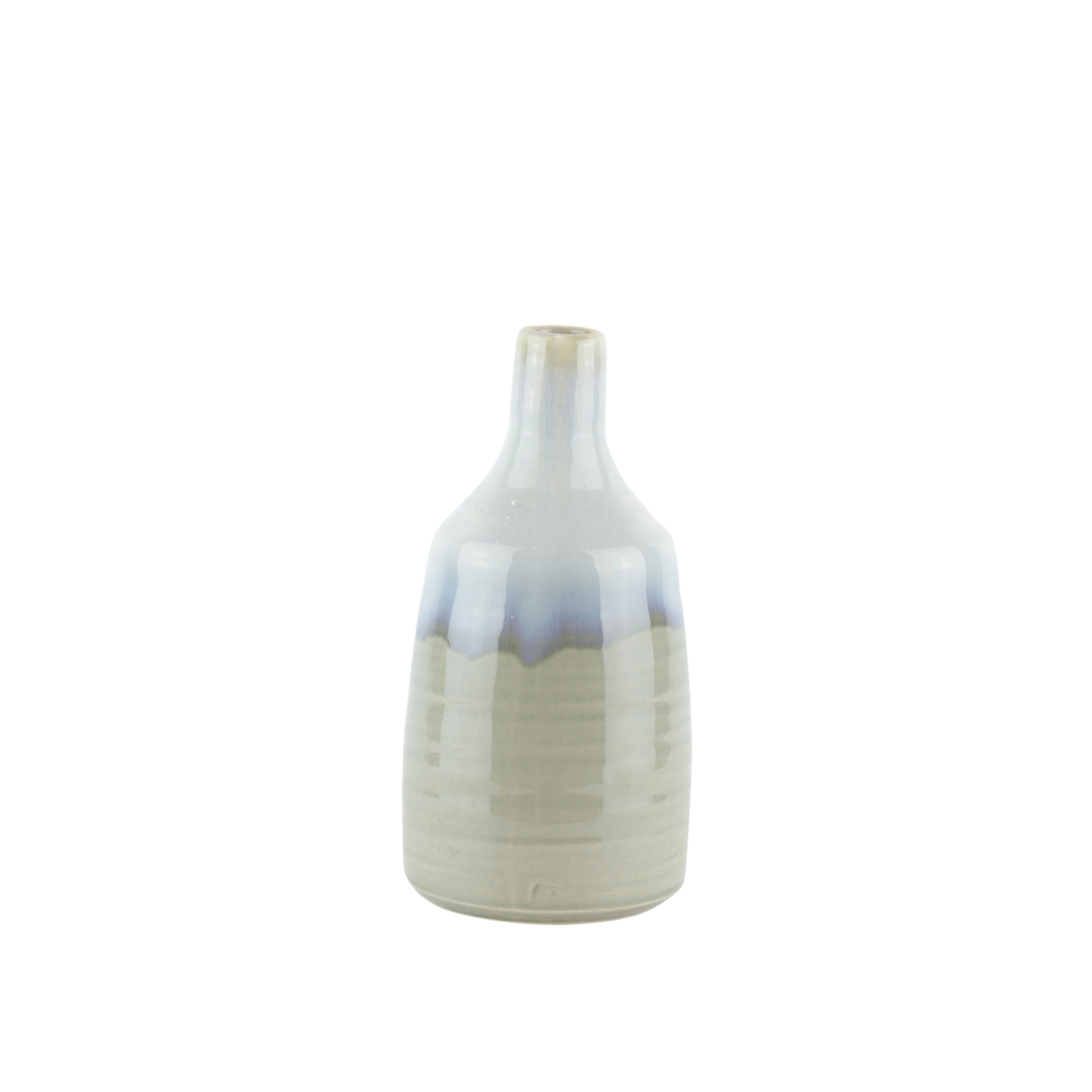 Decorative Ceramic Vase with Dripping Pattern, Blue and Gray