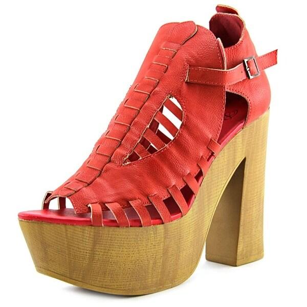Penny Loves Kenny Merlin Women Open Toe Synthetic Red Platform Sandal