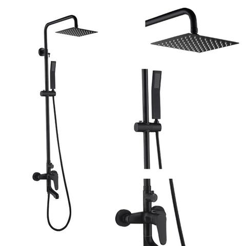 Shower System Matte Black Wall Mount Bathroom Shower Fixtures with 8 inch Dual Shower Head