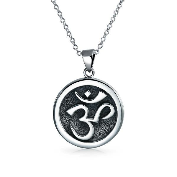 Aum Om Ohm Sanskrit Symbol Yoga Medallion Pendant For Women Men Necklace Circle Disc Oxidized 925 Silver 18 Inch